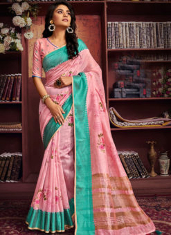 Alluring Pink Cotton Digital Printed Casual Saree