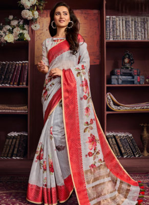 Elegant Grey Cotton Digital Printed Casual Saree