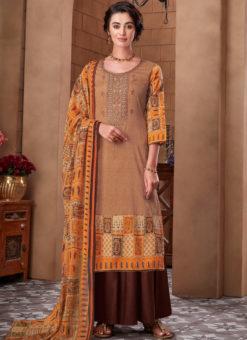 Orange Cotton Digital Printed Casual Wear Salwar Kameez