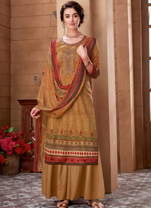 Beige Cotton Digital Printed Casual Wear Salwar Kameez