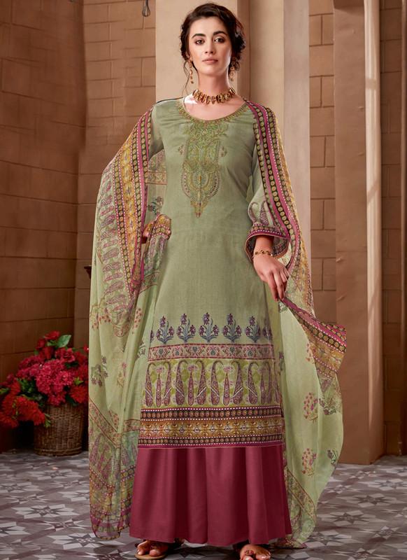 Khaki Green Cotton Digital Printed Casual Wear Salwar Kameez
