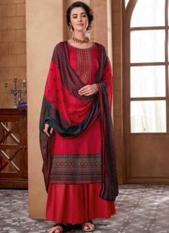 Red Cotton Digital Printed Casual Wear Salwar Kameez
