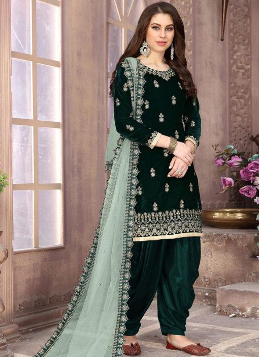 Lovely Dark Green Velvet Designer Patiyala Suit