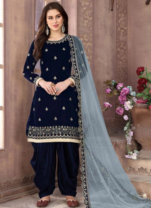 Amazing Navy Blue Velvet Designer Patiyala Suit