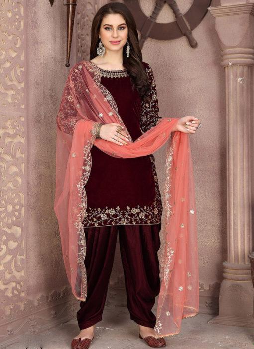 Excellent Maroon Velvet Designer Patiyala Suit