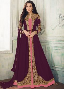 Alluring  Purple Georgette Embroidered Work Anarkali Suit