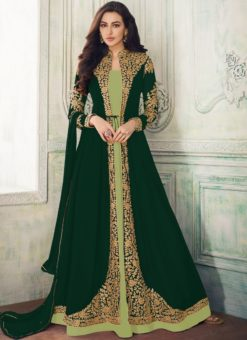 Elegant Green Georgette Embroidered Work Anarkali Suit