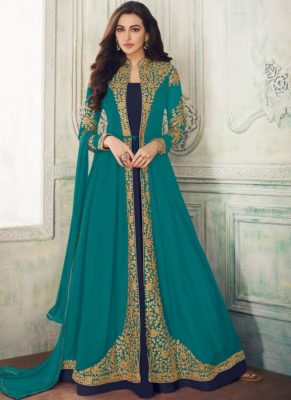 Attractive Sea Green Georgette Embroidered Work Anarkali Suit