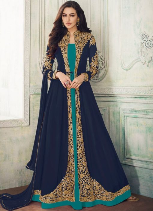 Lovely Blue Georgette Embroidered Work Designer Anarkali Suit