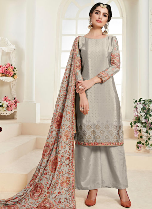 Amazing Grey Satin Daimond Work Designer Salwar Kameez