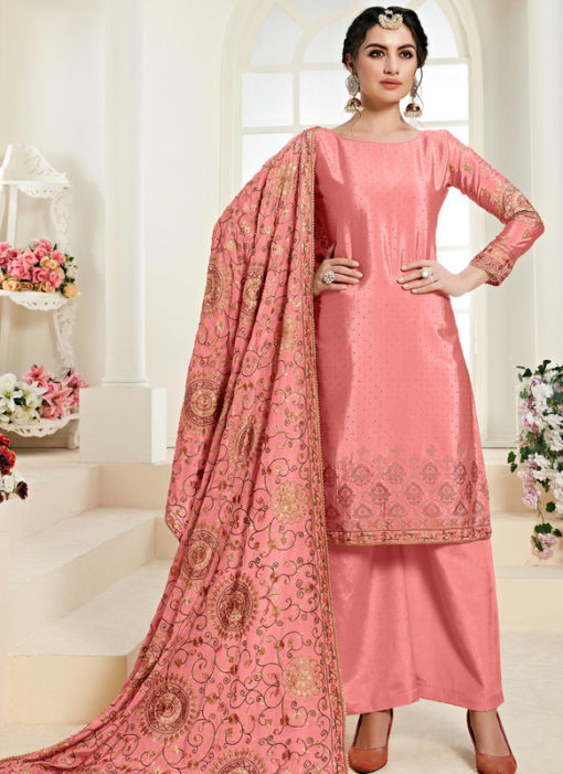 Graceful Pink Satin Daimond Work Designer Salwar Kameez