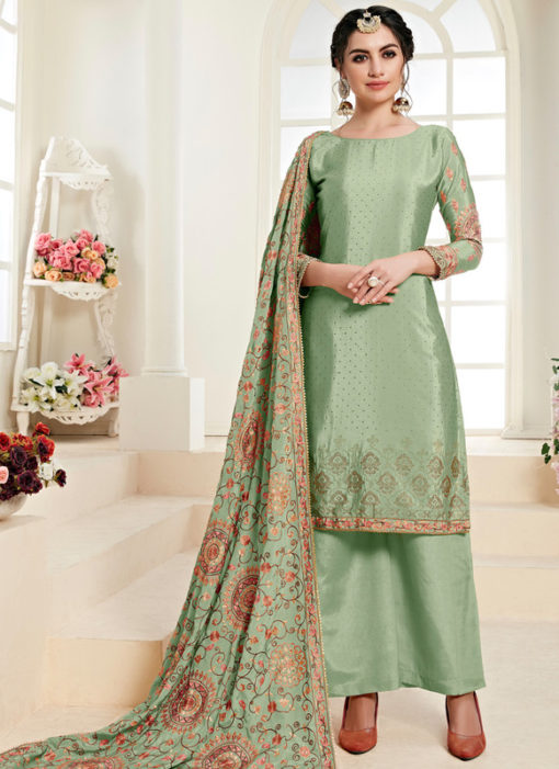 Lovely Green Satin Daimond Work Designer Salwar Kameez