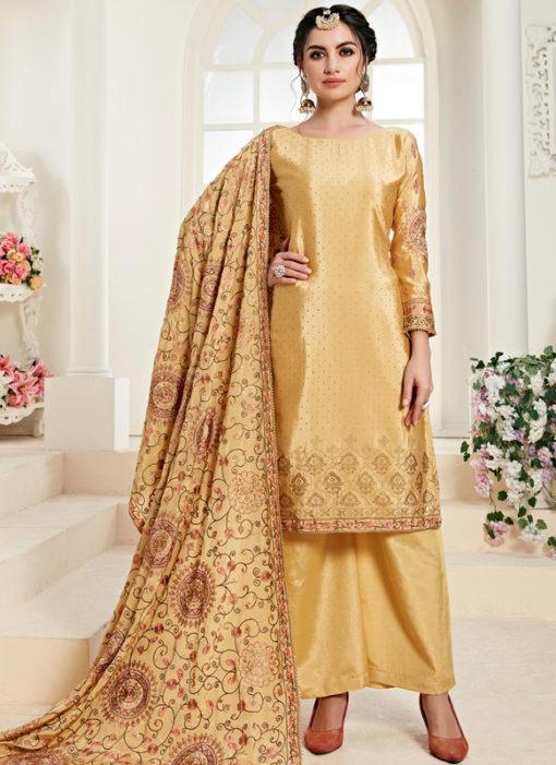 Elegant Yellow Satin Daimond Work Designer Salwar Kameez