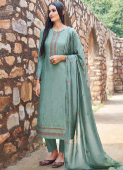 Glorious Green Embroidered Work Designer Salwar Kameez