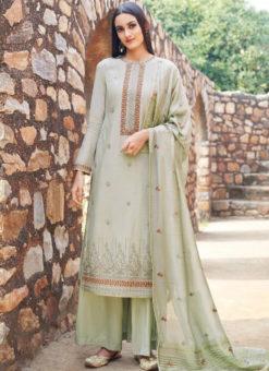 Dazzling Green Embroidered Work Cotton Designer Salwar Kameez