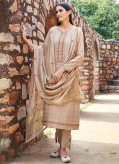 Alluring Beige Cotton Designer Embroidered Work Salwar Kameez