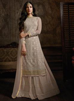 Designer Alluring Beige Party Wear Georgette Pakistani Suit