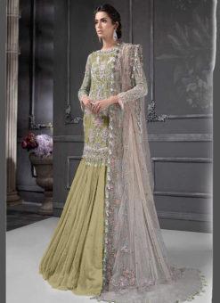 Designer Heavy Net Olive Party Wear Pakistani Suit