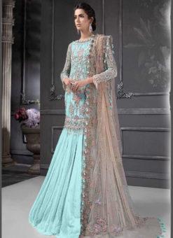 Designer Heavy Net Sky Blue Party Wear Pakistani Suit