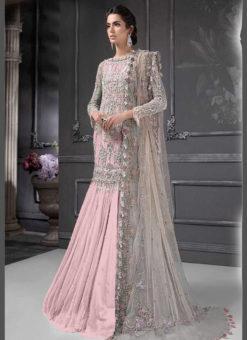 Designer Heavy Net Pink Party Wear Pakistani Suit