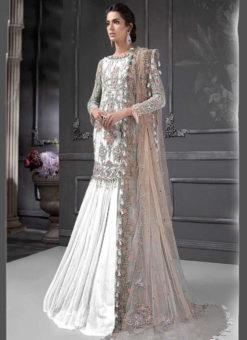 Designer Heavy Net White Party Wear Pakistani Suit