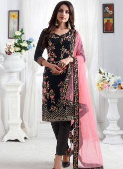 Embroidred Designer Party Wear Georgette Black Salwar Suits