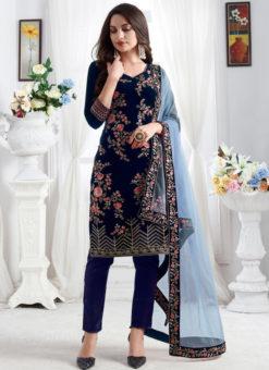 Embroidred Designer Party Wear Georgette Navy Blue Salwar Suits