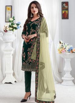 Embroidred Designer Party Wear Georgette Green Salwar Suits