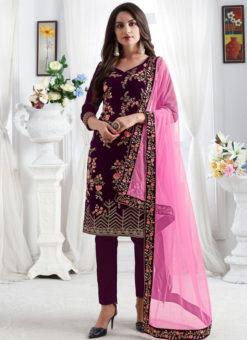 Embroidred Designer Party Wear Georgette Wine Salwar Suits