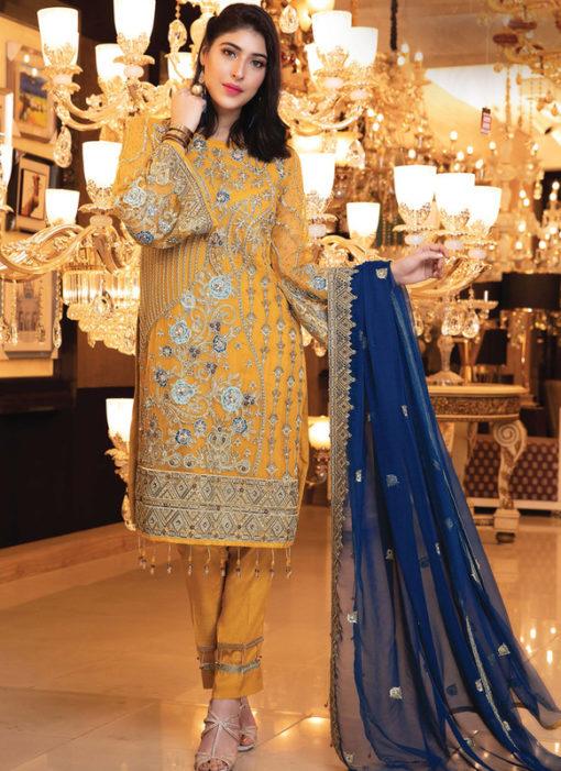 Designer Pakistani Style Yellow Bridal Wear Salwar Suit