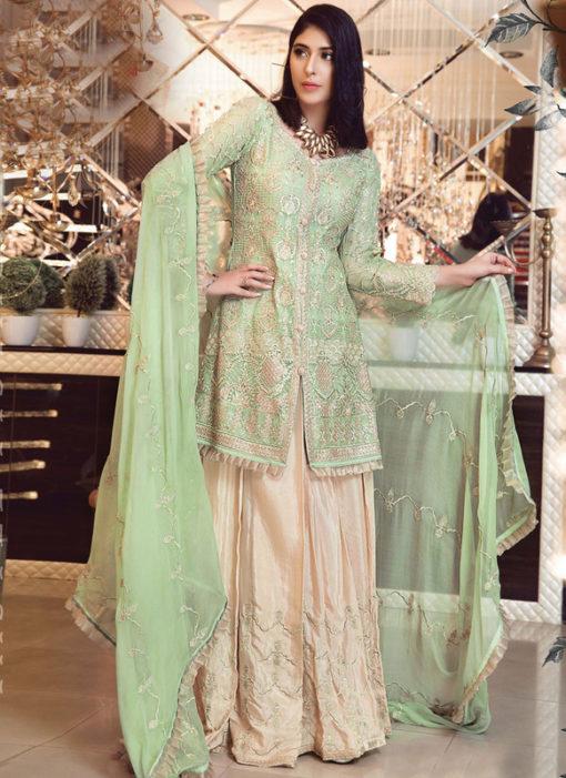 Designer Pakistani Style Green Bridal Wear Salwar Suit