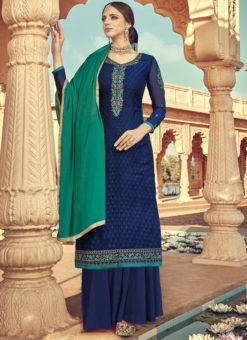 Amazing Blue Viscose Party Wear Palazzo Suit