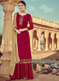 Luxurious Red Viscose Party Wear Palazzo Suit