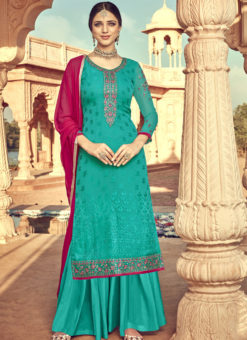 Classy Sea Green Viscose Party Wear Palazzo Suit