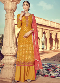 Exclusive Mustard Viscose Party Wear Palazzo Suit