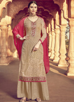 Grandiose Beige Viscose Party Wear Palazzo Suit