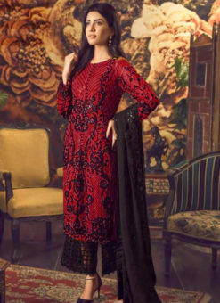 Graceful Red Georgette Cut Work Designer Palazzo Suit