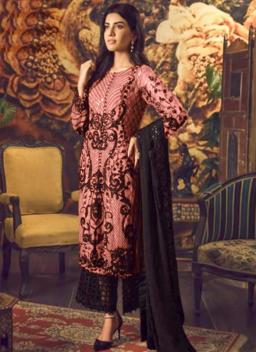 Artistic Peach Georgette Cut Work Designer Palazzo Suit