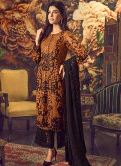 Attractive Mustard Georgette Cut Work Palazzo Suit