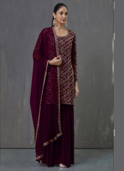 Elegant Violet Georgette Embroidered Work Pakistani Suit