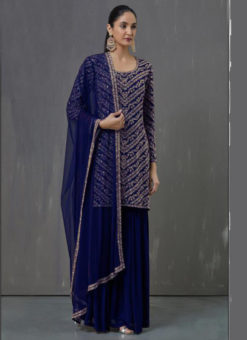 Amazing Blue Georgette Embroidered Work Pakistani Suit