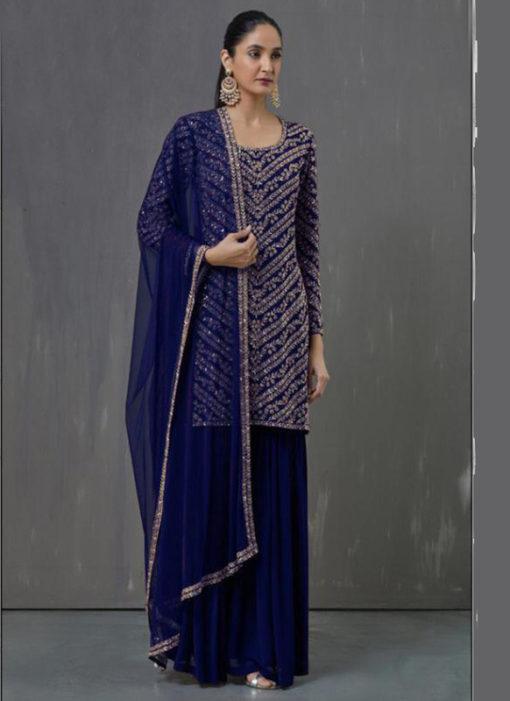 Amazing Blue Georgette Embroidered Work Pakistani Suit
