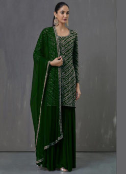Graceful Green Georgette Embroidered Work Pakistani Suit