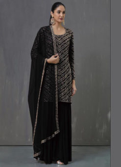 Superb Black Georgette Embroidered Work Pakistani Suit
