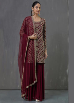 Lovely Maroon Georgette Embroidered Work Pakistani Suit