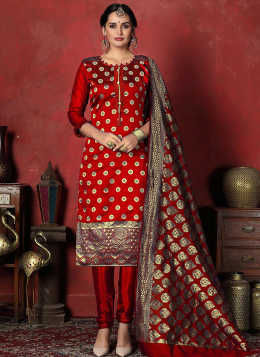 Radiant Red Designer Banarasi Silk Churidar Salwar Suit
