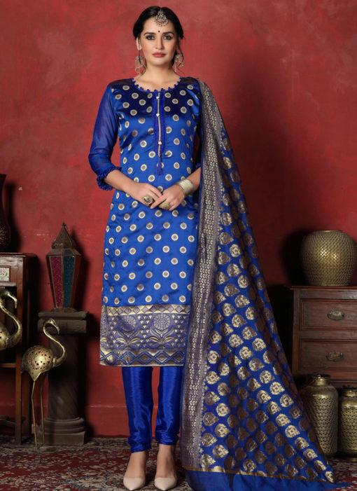 Sparkling Blue Designer Banarasi Silk Churidar Salwar Suit