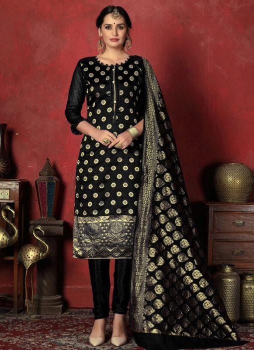 Magnificent Black Designer Banarasi Silk Churidar Salwar Suit