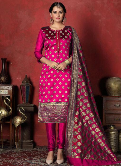 Majestic Pink Designer Banarasi Silk Churidar Salwar Suit