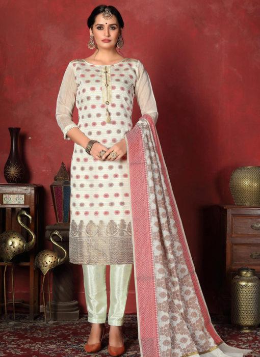 Superb Off White Designer Banarasi Silk Churidar Salwar Suit